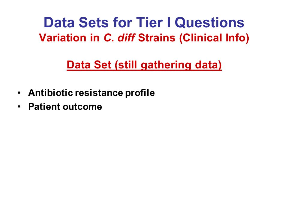 Data Sets for Tier I Questions Variation in C.