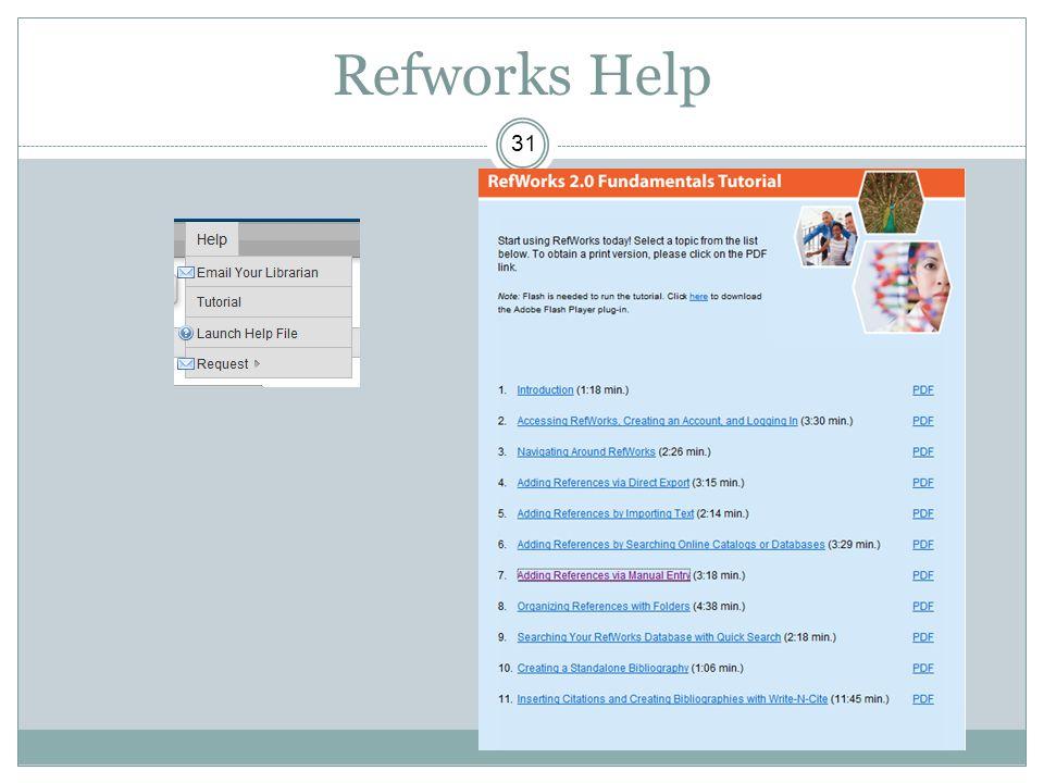 Refworks Help 31