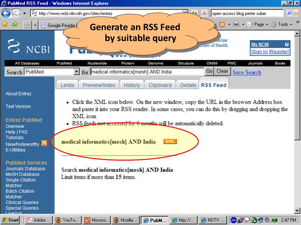 Generate an RSS Feed by suitable query