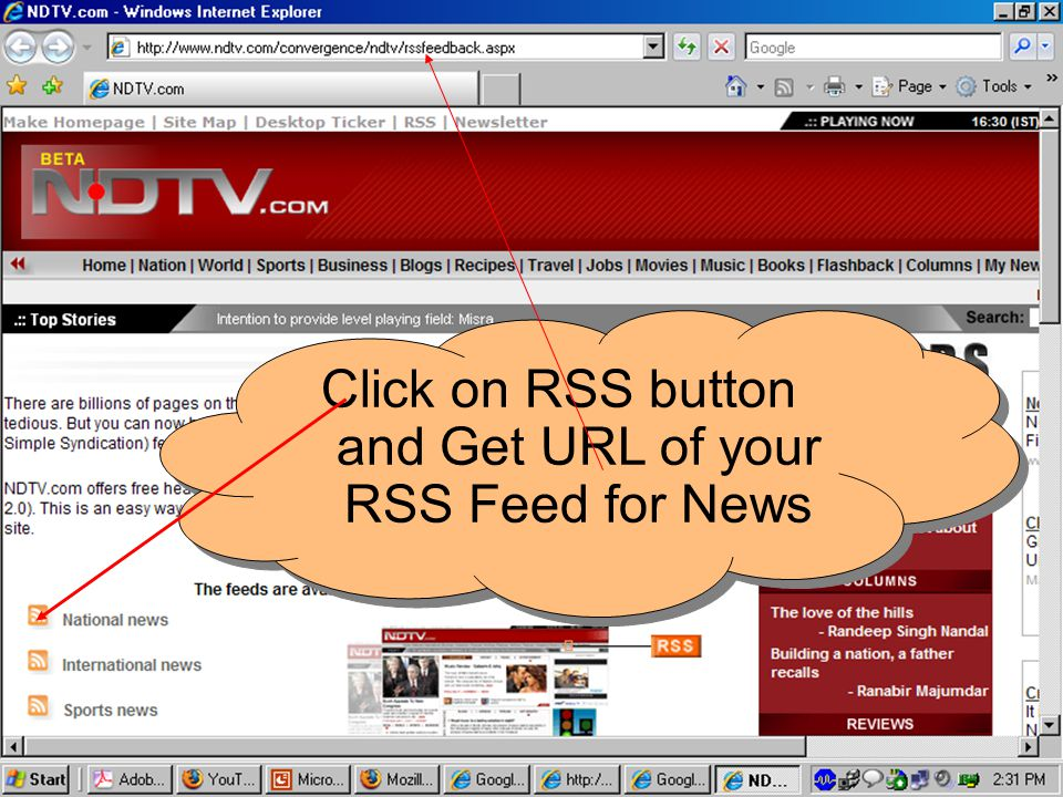 Click on RSS button and Get URL of your RSS Feed for News