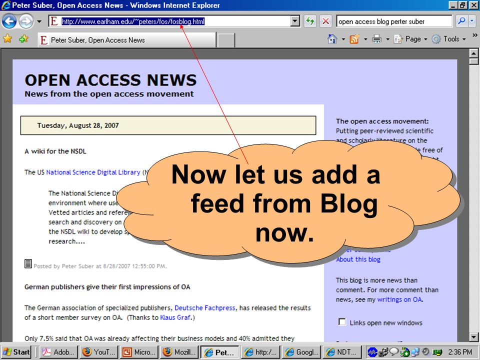 Now let us add a feed from Blog now.