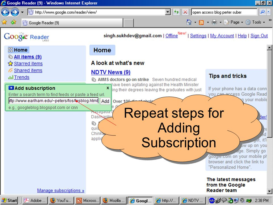 Repeat steps for Adding Subscription