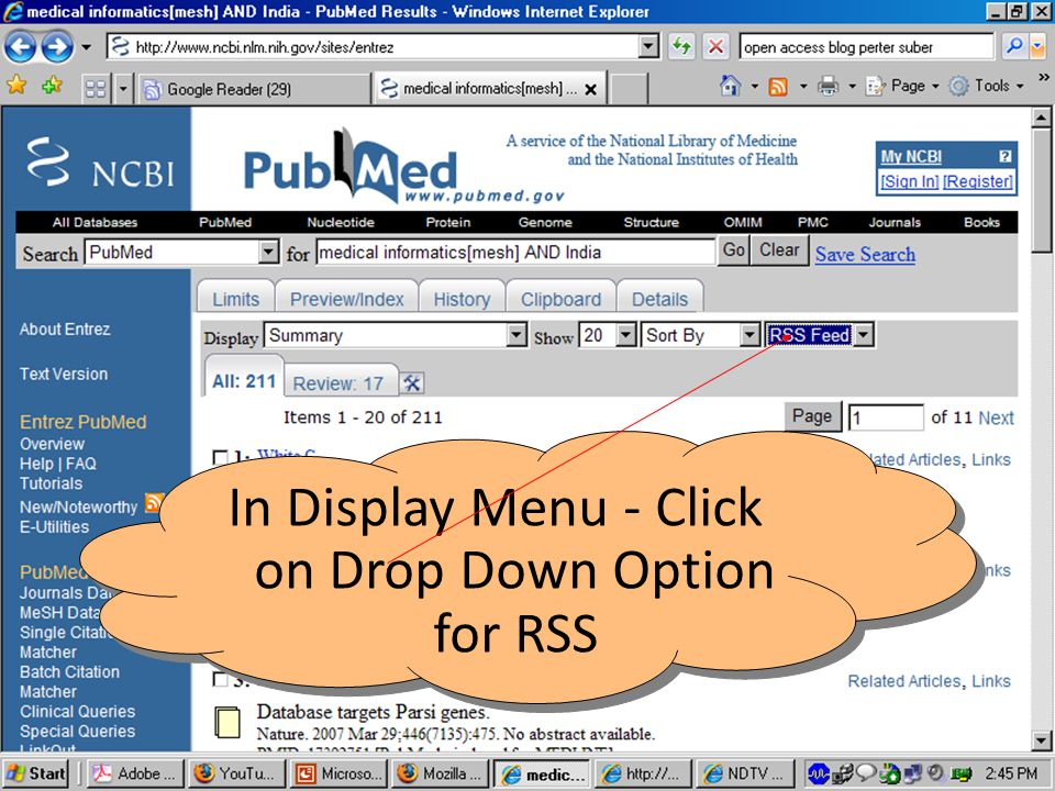 In Display Menu - Click on Drop Down Option for RSS
