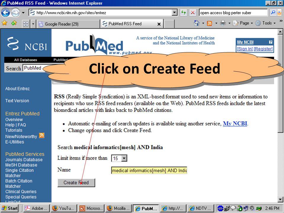 Click on Create Feed