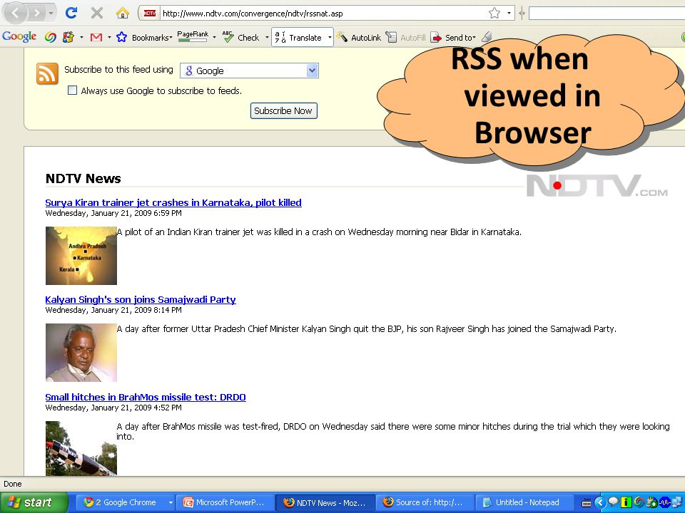 RSS when viewed in Browser
