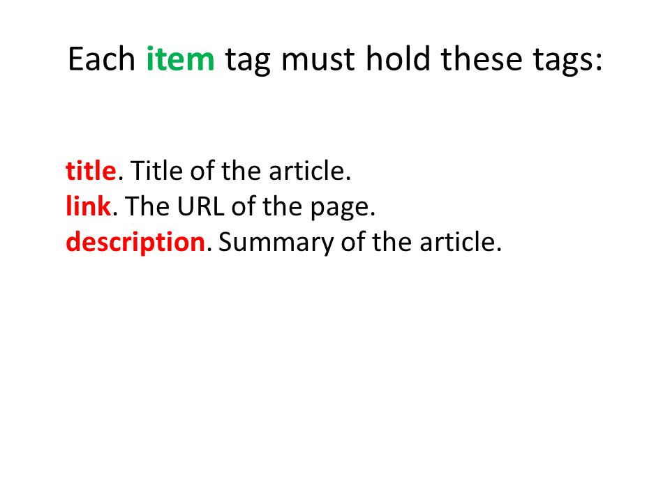 Each item tag must hold these tags: title. Title of the article.