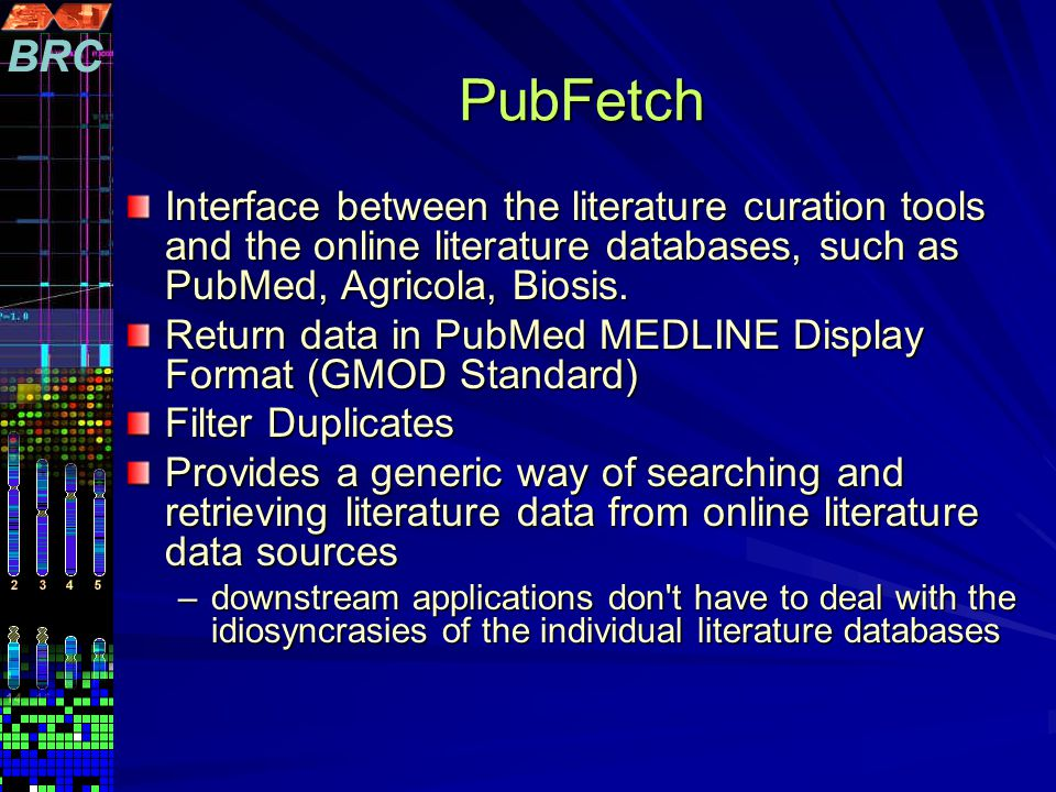 Interface between the literature curation tools and the online literature databases, such as PubMed, Agricola, Biosis.