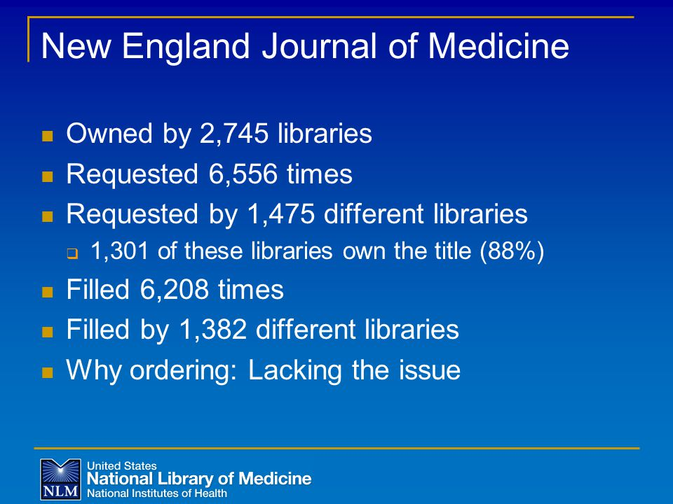 New England Journal of Medicine Owned by 2,745 libraries Requested 6,556 times Requested by 1,475 different libraries  1,301 of these libraries own the title (88%) Filled 6,208 times Filled by 1,382 different libraries Why ordering: Lacking the issue