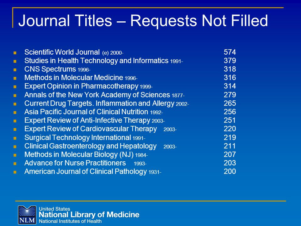Journal Titles – Requests Not Filled Scientific World Journal (e) 2000- 574 Studies in Health Technology and Informatics 1991- 379 CNS Spectrums 1996- 318 Methods in Molecular Medicine 1996- 316 Expert Opinion in Pharmacotherapy 1999- 314 Annals of the New York Academy of Sciences 1877- 279 Current Drug Targets.
