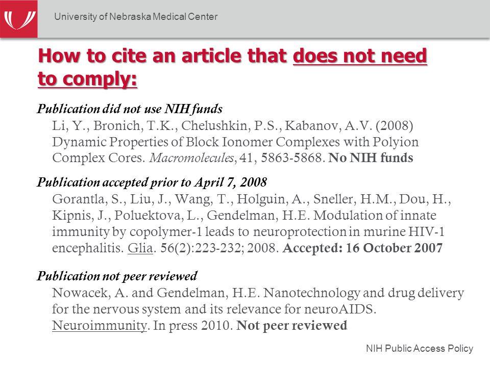 NIH Public Access Policy Publication did not use NIH funds Li, Y., Bronich, T.K., Chelushkin, P.S., Kabanov, A.V. (2008) Dynamic Properties of Block I