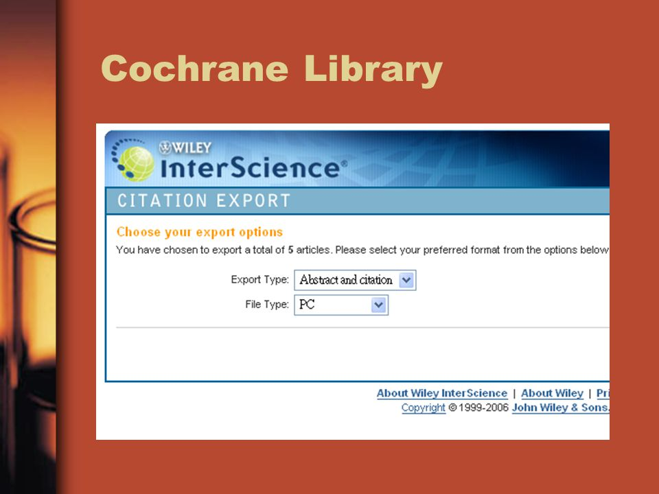 Cochrane Review Group 33 hits 5 selected