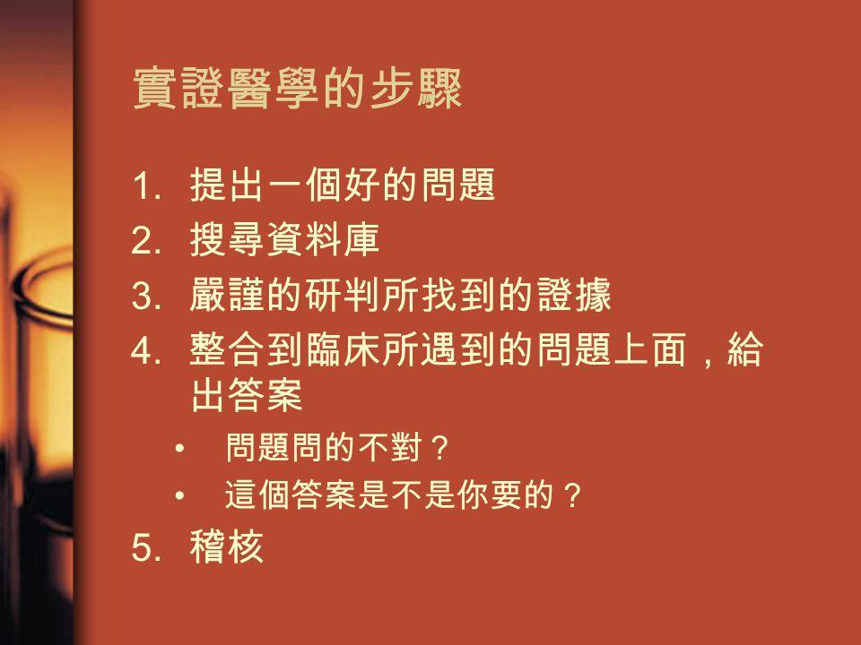 實證醫學的步驟 1. 提出一個好的問題 2. 搜尋資料庫 3. 嚴謹的研判所找到的證據 4. 整合到臨床所遇到的問題上面,給 出答案 問題問的不對? 這個答案是不是你要的? 5. 稽核