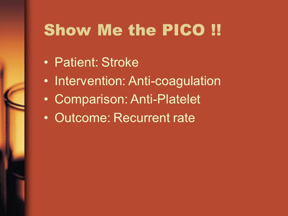 Show Me the PICO !.