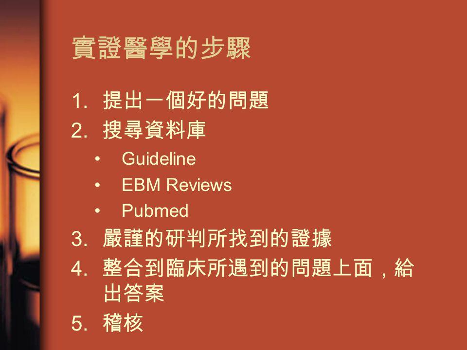 實證醫學的步驟 1. 提出一個好的問題 2. 搜尋資料庫 Guideline EBM Reviews Pubmed 3.