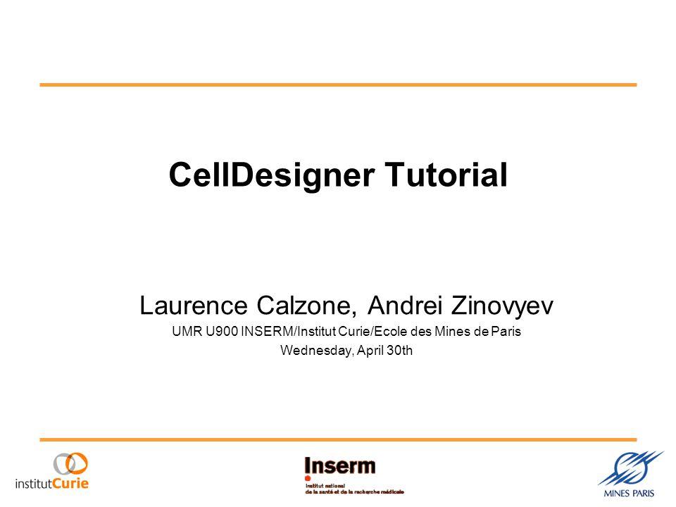 CellDesigner Tutorial Laurence Calzone, Andrei Zinovyev UMR U900 INSERM/Institut Curie/Ecole des Mines de Paris Wednesday, April 30th