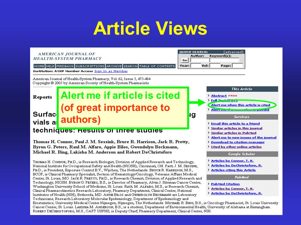 Alert me if article is cited (of great importance to authors)