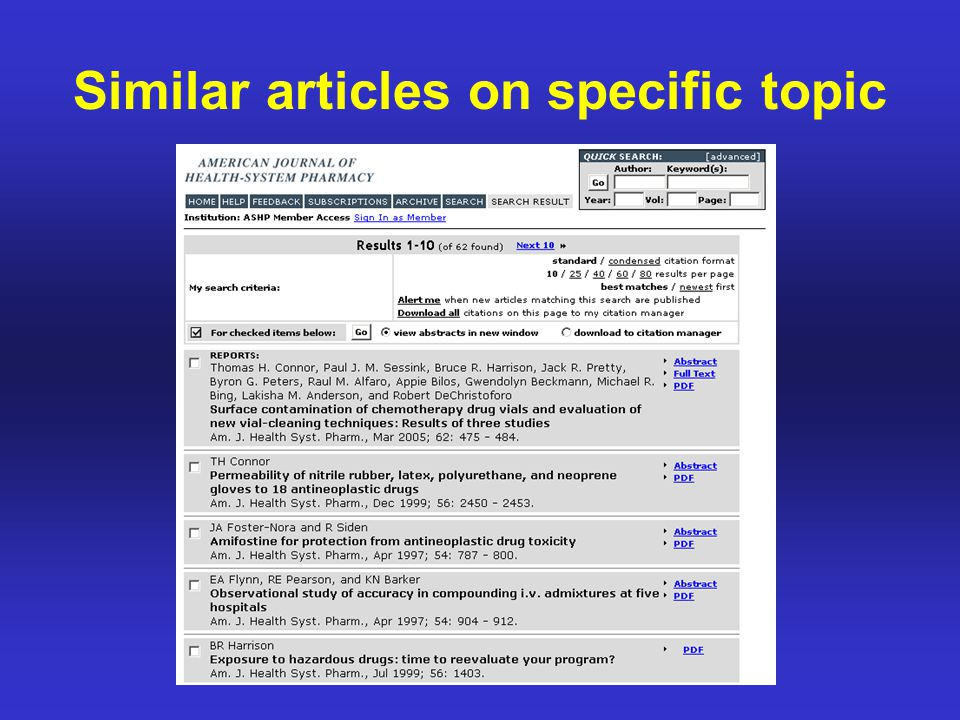 Similar articles on specific topic