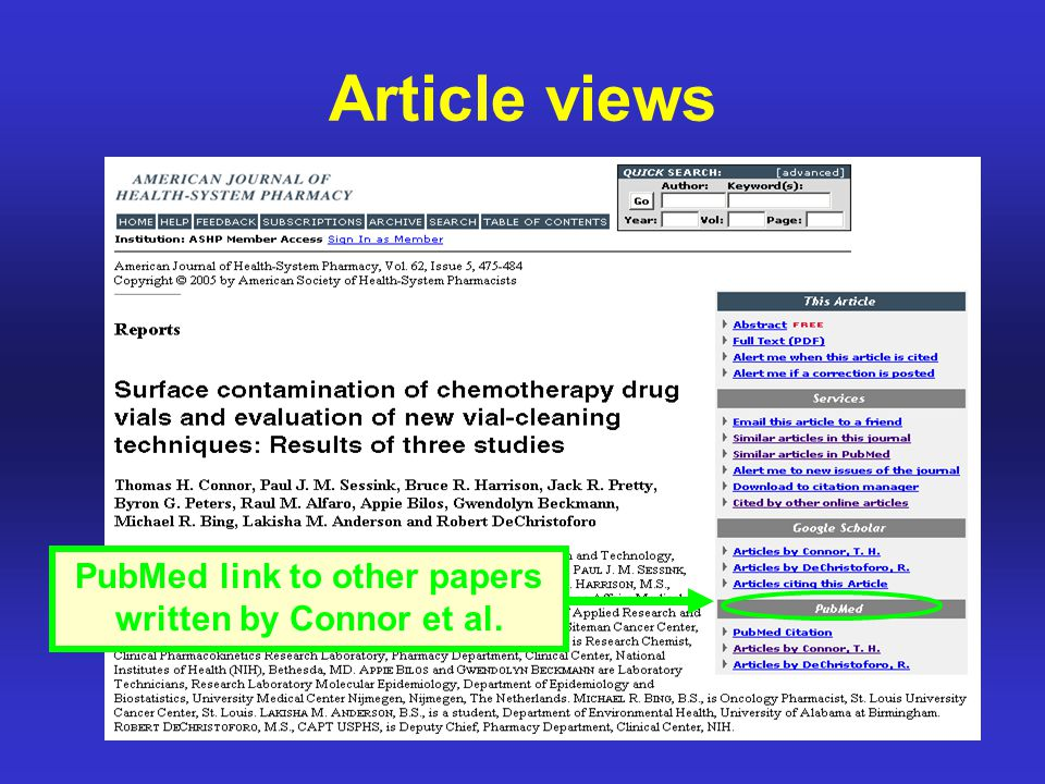 Article views PubMed link to other papers written by Connor et al.