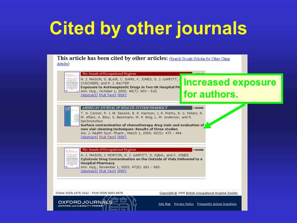 Cited by other journals Increased exposure for authors.