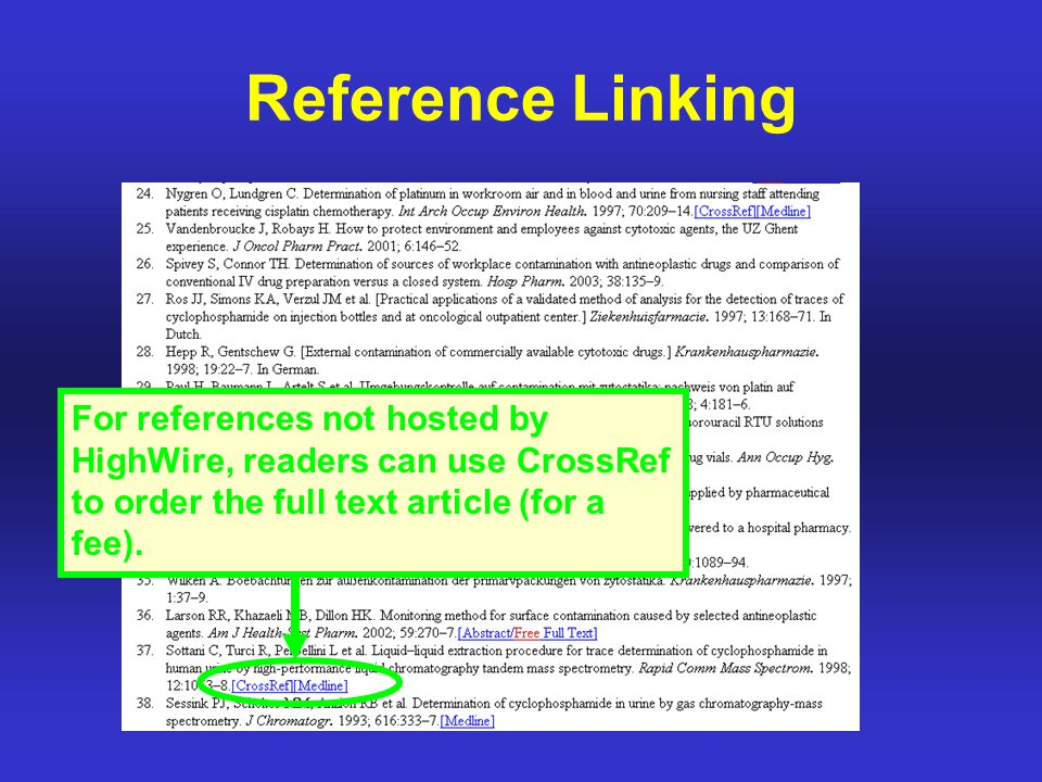 Reference Linking For references not hosted by HighWire, readers can use CrossRef to order the full text article (for a fee).