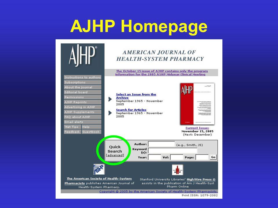 AJHP Homepage
