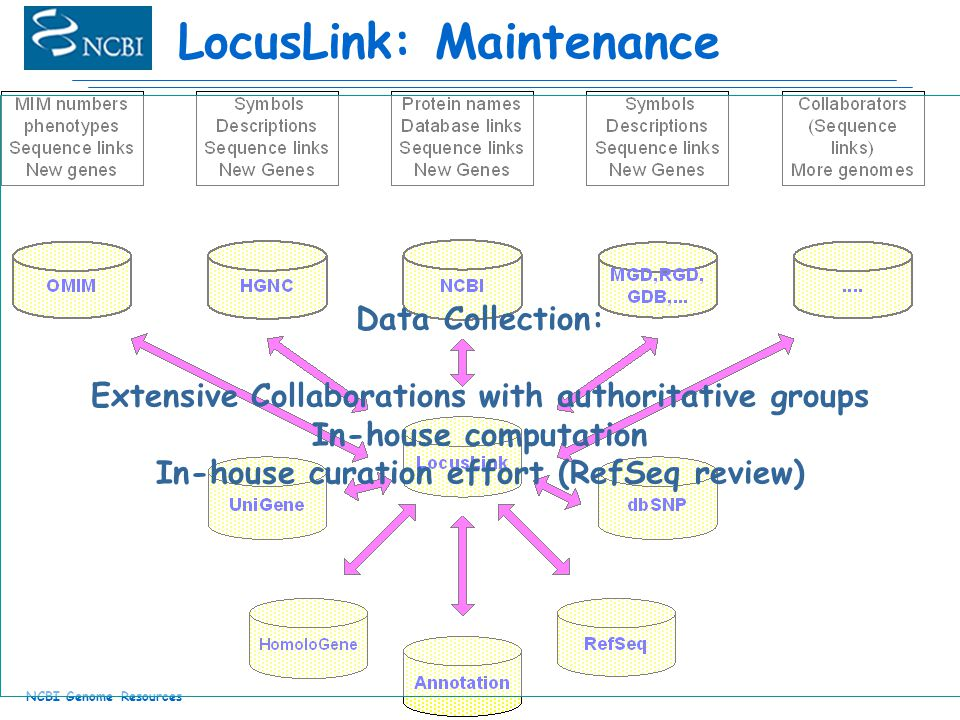 NCBI Genome Resources LocusLink: Maintenance Data Collection: Extensive Collaborations with authoritative groups In-house computation In-house curation effort (RefSeq review)