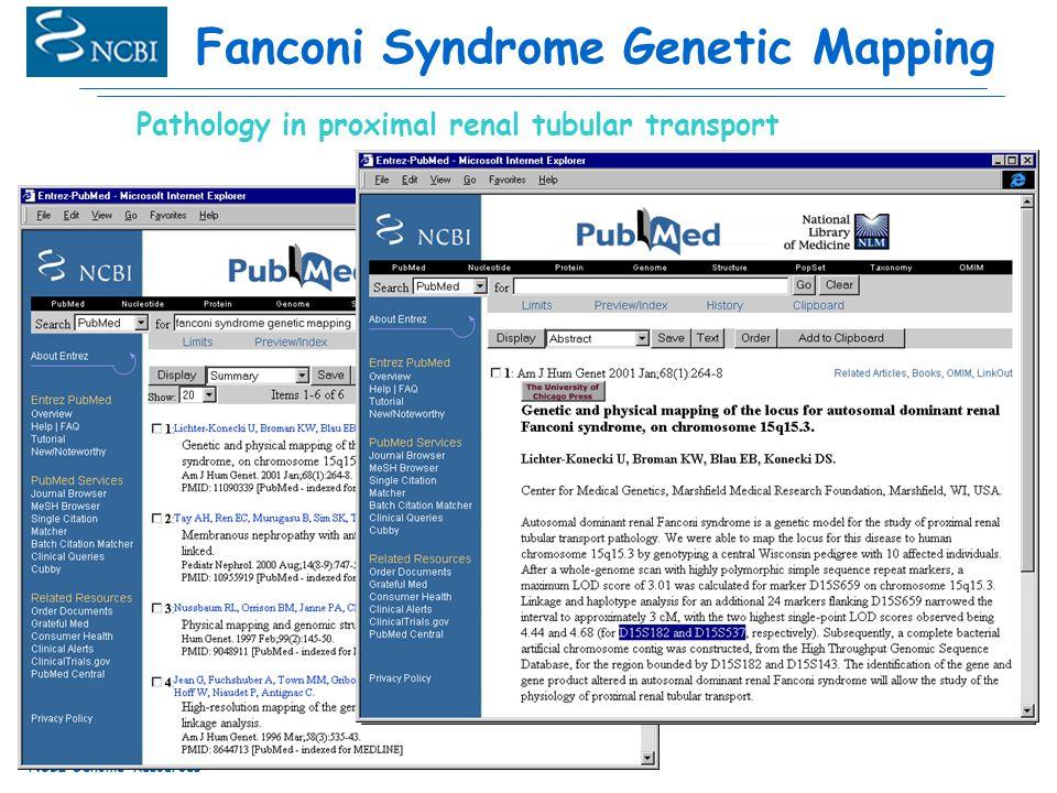 NCBI Genome Resources Fanconi Syndrome Genetic Mapping Pathology in proximal renal tubular transport
