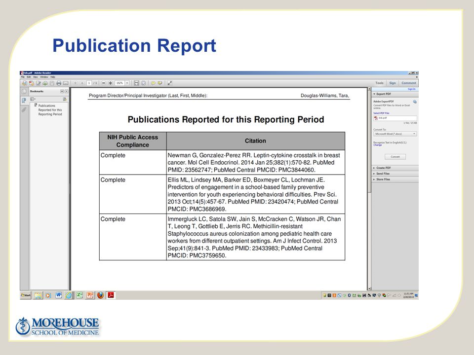 http://publicaccess.nih.gov/ Publication Report Click to Add Copy