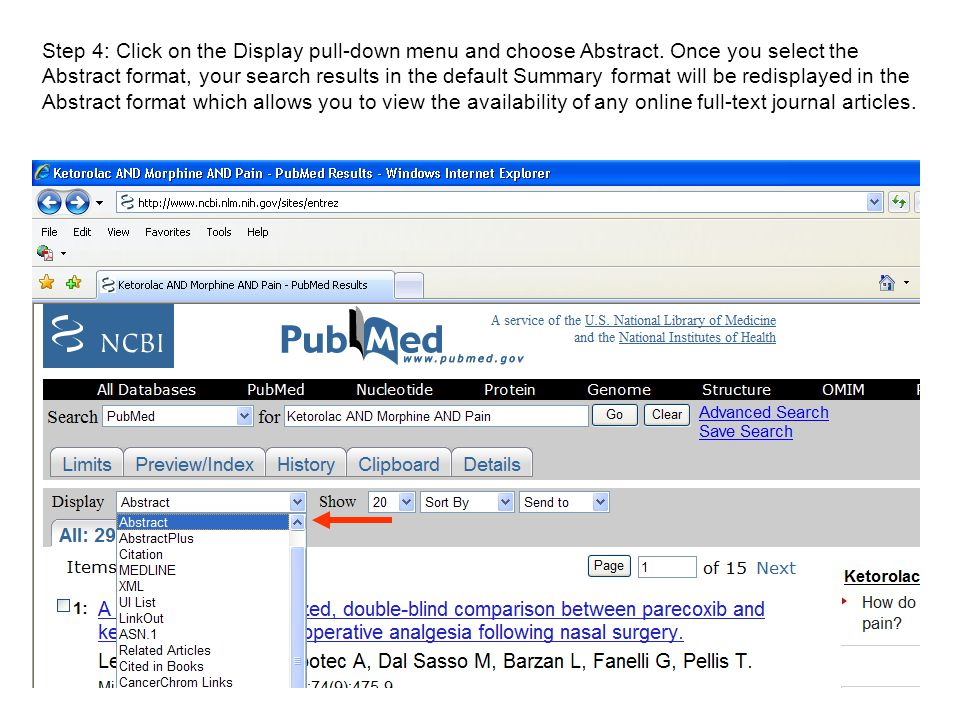 Step 4: Click on the Display pull-down menu and choose Abstract.