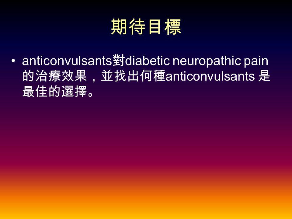 期待目標 anticonvulsants 對 diabetic neuropathic pain 的治療效果,並找出何種 anticonvulsants 是 最佳的選擇。