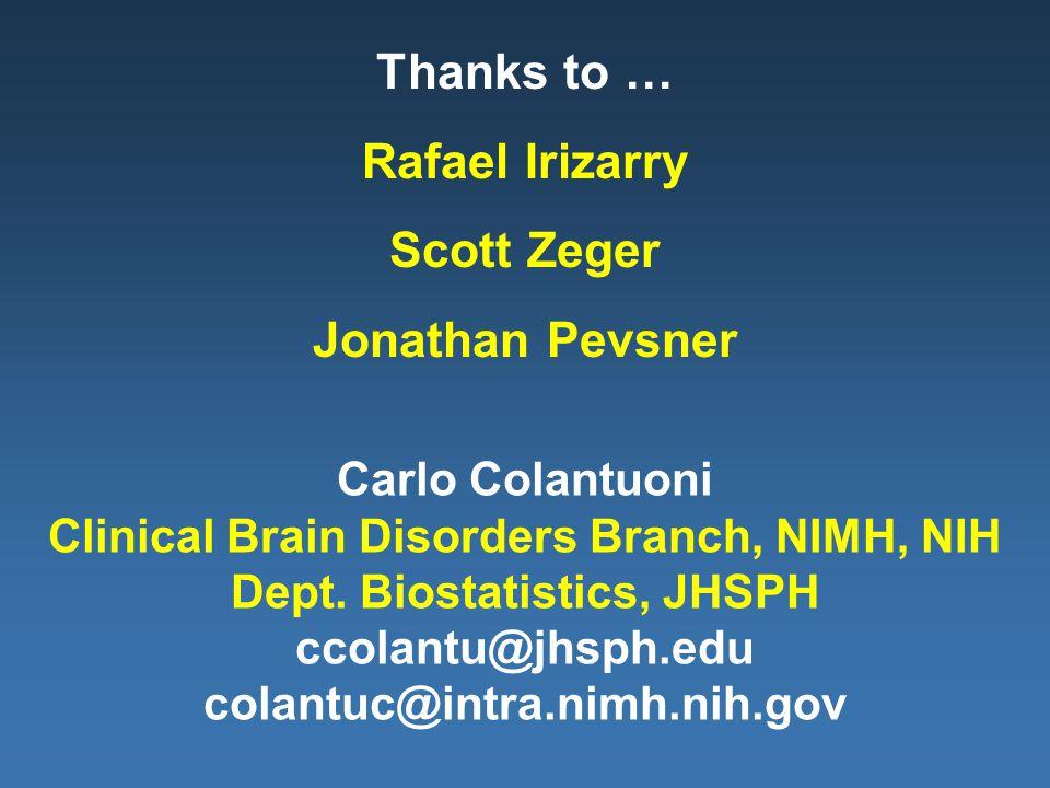 Carlo Colantuoni Clinical Brain Disorders Branch, NIMH, NIH Dept.