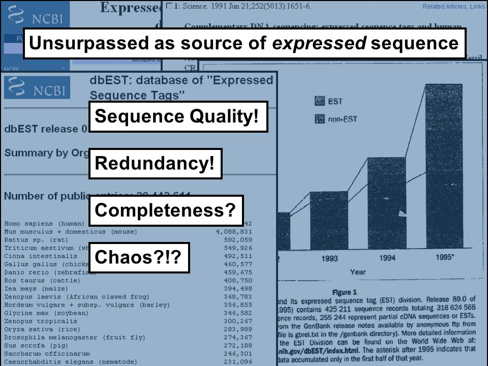Sequence Quality! Redundancy! Completeness? Unsurpassed as source of expressed sequence Chaos?!?