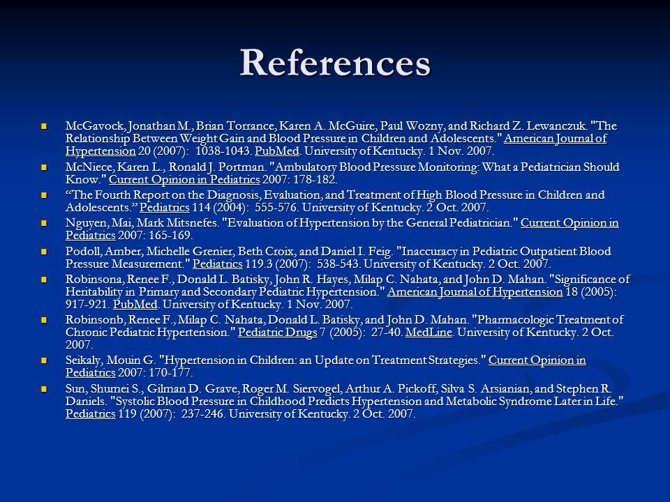 References McGavock, Jonathan M., Brian Torrance, Karen A.