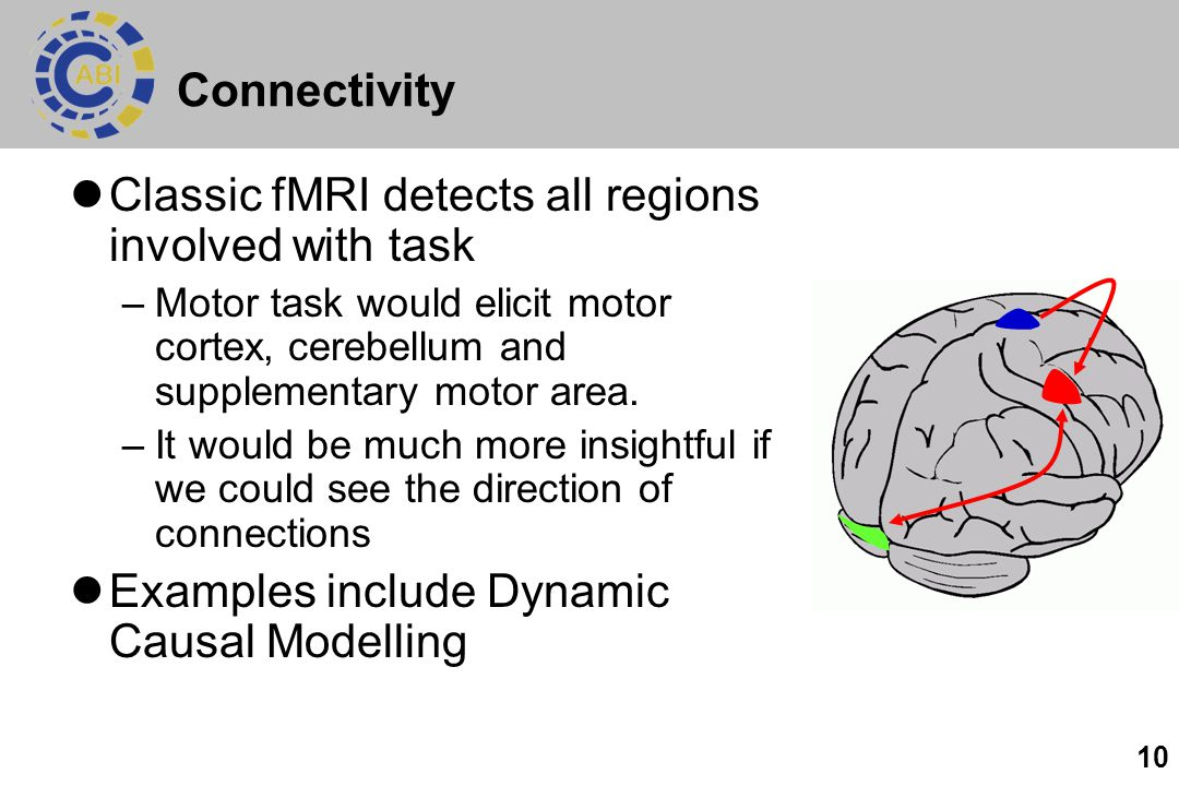 10 Connectivity Classic fMRI detects all regions involved with task –Motor task would elicit motor cortex, cerebellum and supplementary motor area. –I