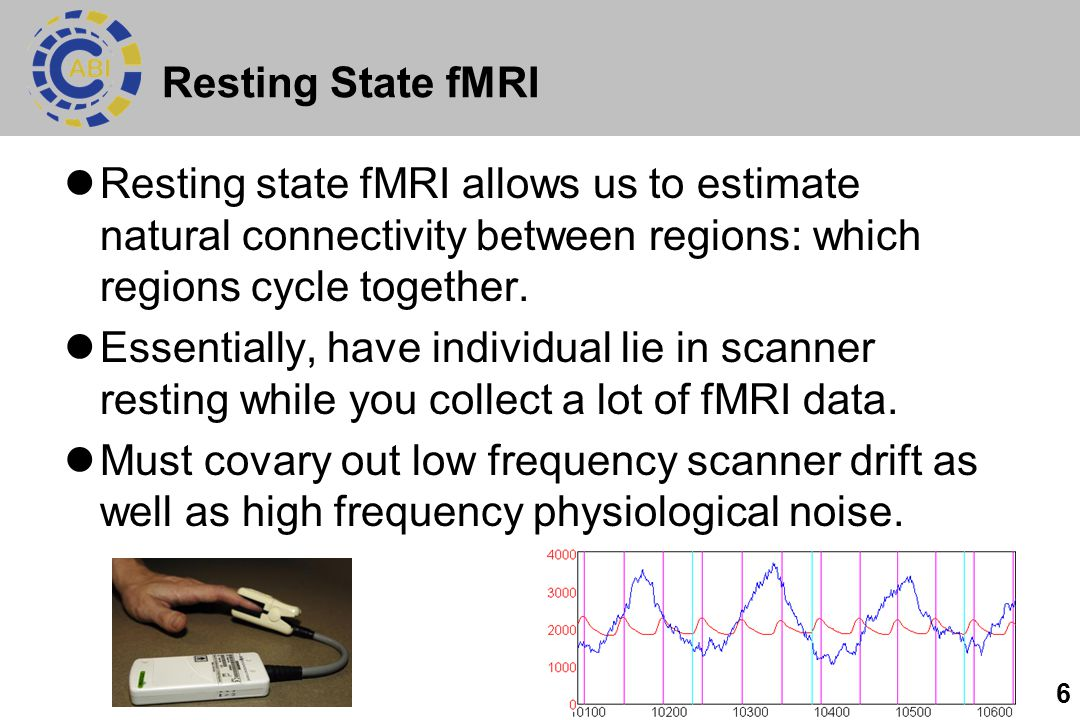 6 Resting State fMRI Resting state fMRI allows us to estimate natural connectivity between regions: which regions cycle together. Essentially, have in