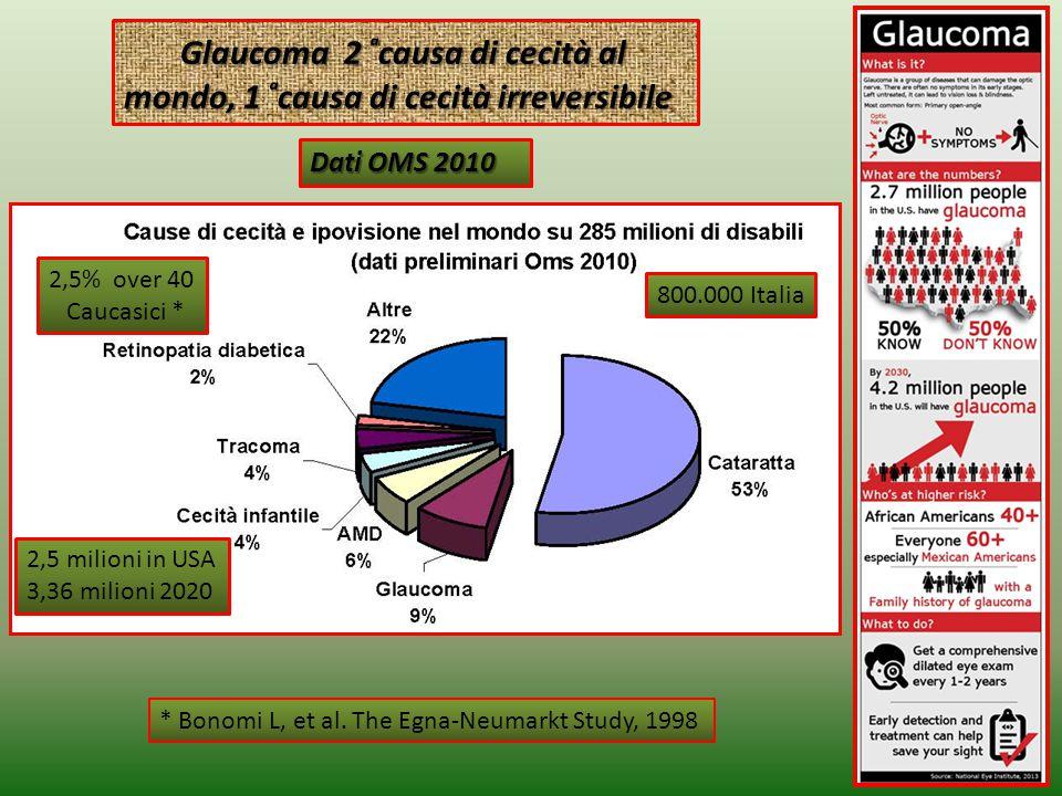 2 Glaucoma 2 ͣcausa di cecità al mondo, 1 ͣcausa di cecità irreversibile 800.000 Italia 2,5% over 40 Caucasici * Dati OMS 2010 * Bonomi L, et al.