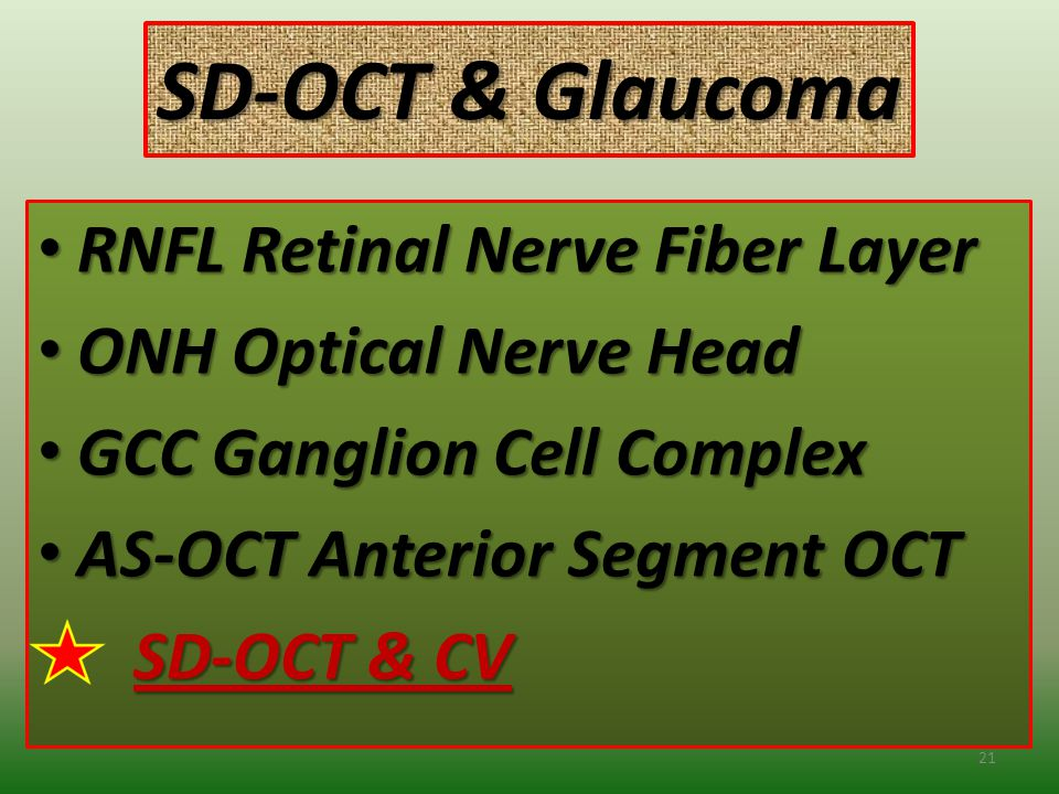 SD-OCT & Glaucoma RNFL Retinal Nerve Fiber Layer RNFL Retinal Nerve Fiber Layer ONH Optical Nerve Head ONH Optical Nerve Head GCC Ganglion Cell Complex GCC Ganglion Cell Complex AS-OCT Anterior Segment OCT AS-OCT Anterior Segment OCT SD-OCT & CV SD-OCT & CV 21