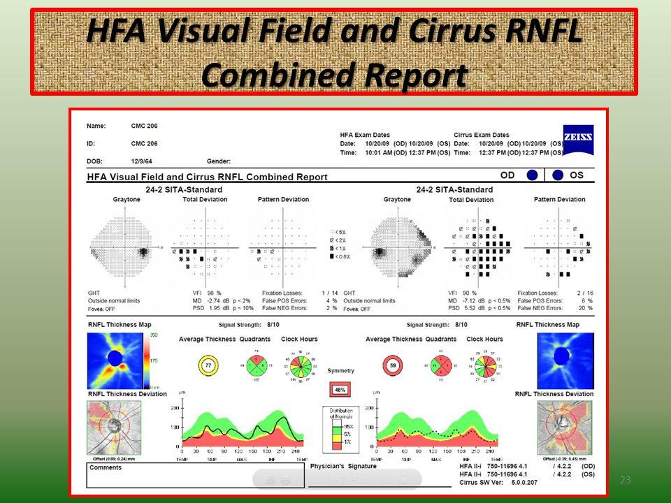 HFA Visual Field and Cirrus RNFL Combined Report 23