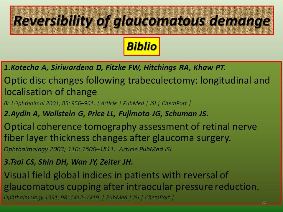 Reversibility of glaucomatous demange 1.Kotecha A, Siriwardena D, Fitzke FW, Hitchings RA, Khaw PT.