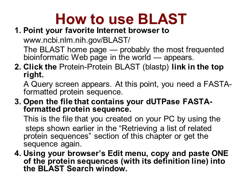 How to use BLAST 1.