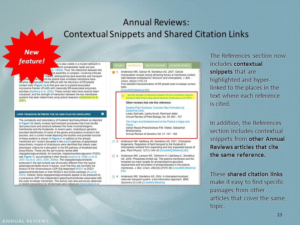Annual Reviews: Contextual Snippets and Shared Citation Links The References section now includes contextual snippets that are highlighted and hyper- linked to the places in the text where each reference is cited.