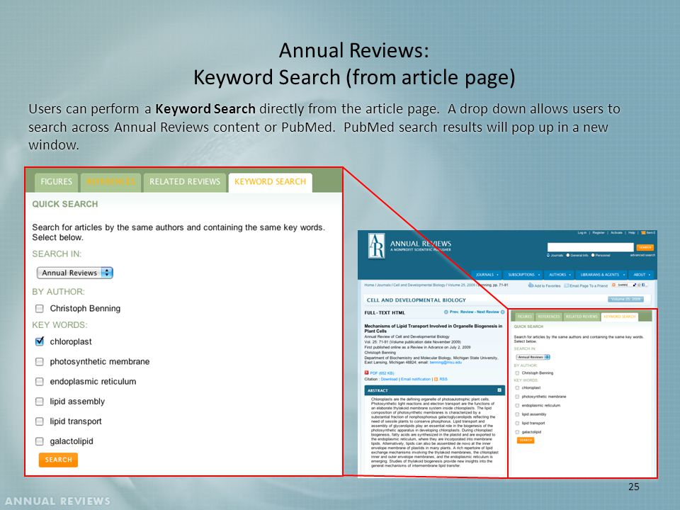 Annual Reviews: Keyword Search (from article page) Users can perform a Keyword Search directly from the article page.
