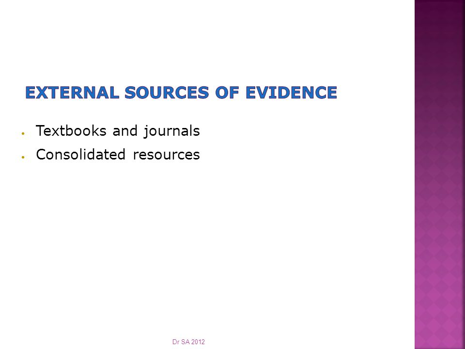  Textbooks and journals  Consolidated resources Dr SA 2012