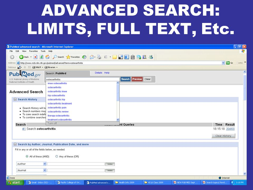 ADVANCED SEARCH: LIMITS, FULL TEXT, Etc.