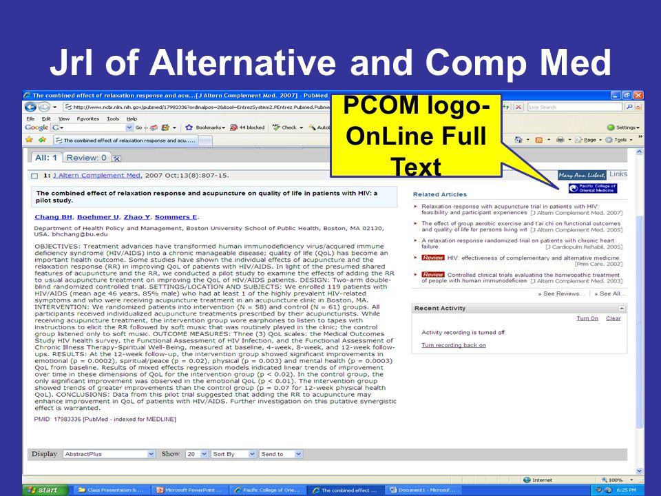 Jrl of Alternative and Comp Med PCOM logo- OnLine Full Text