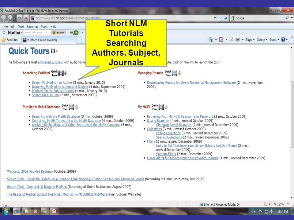 Short NLM Tutorials Searching Authors, Subject, Journals