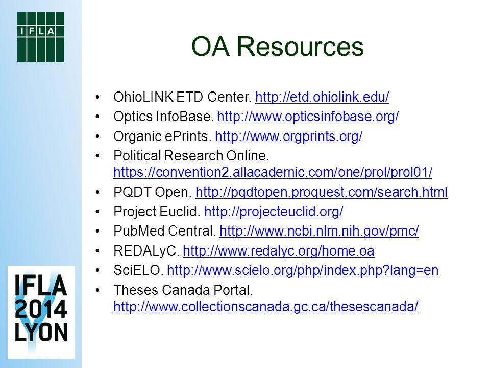 OA Resources OhioLINK ETD Center. http://etd.ohiolink.edu/http://etd.ohiolink.edu/ Optics InfoBase.