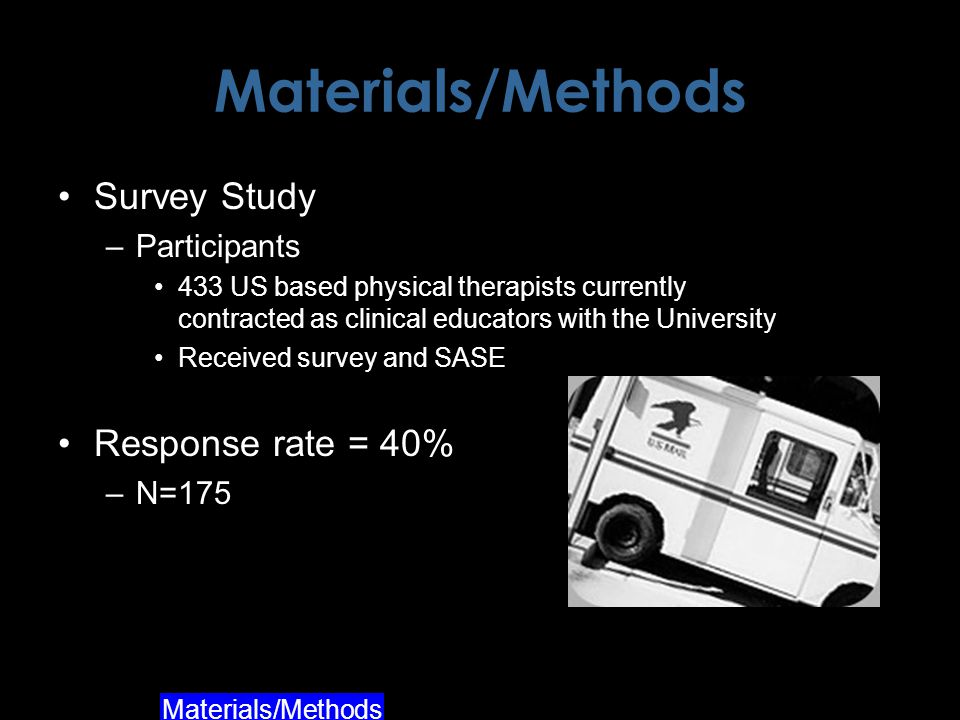 Materials/Methods Survey Study –Participants 433 US based physical therapists currently contracted as clinical educators with the University Received survey and SASE Response rate = 40% –N=175 Materials/Methods