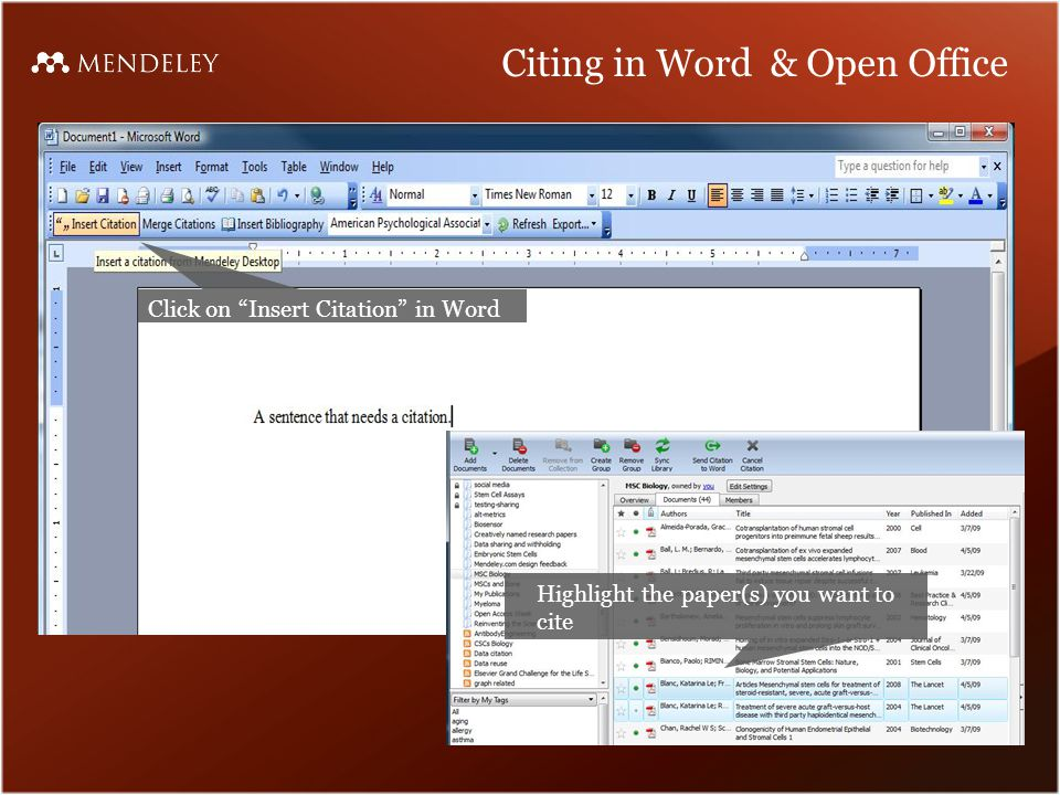 Citing in Word & Open Office Click on Insert Citation in Word Highlight the paper(s) you want to cite