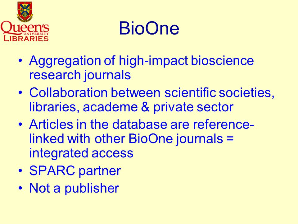 Journals in PubMed Central EMBO journal –Research articles free to all users after 12 months Molecular biology of the cell –Most recent issue is December 2002 Nucleic acids research –Research articles free to all users after 6 months Proceedings of the National Academy of Sciences of the United States of America –Most recent issue is August 2002